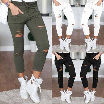 Women Denim Skinny Ripped Pants High Waist Stretch Jeans Slim Trousers UK STOCK