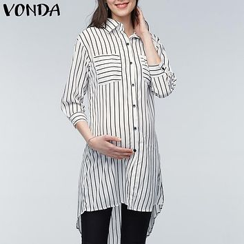 VONDA Maternity Clothings Pregnant Women Blouses 2018 Pregnancy Lapel 3/4 Sleeve Casual Loose Striped Shirts Plus Size Oversized