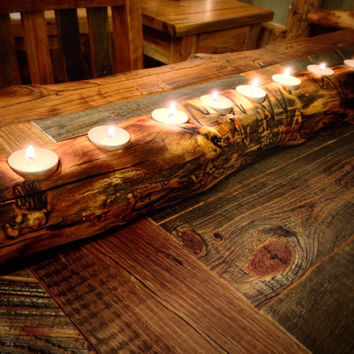 Aspen Log Candle Holder, Wood Candle Holder, Home Decor