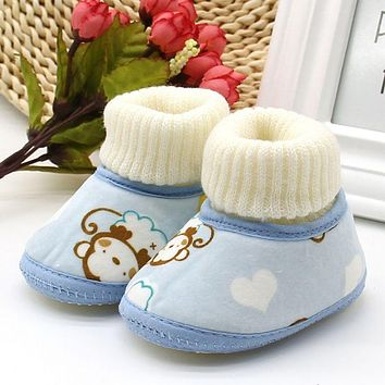 WEIXINBUY Baby Girl Boy Winter Warm Snow Boots Toddler Bow Soft Sole Shoes Prewalker 0-18M Baby Shoes