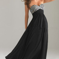 Black princess strapless A-line beading gown dress from Girlfirend