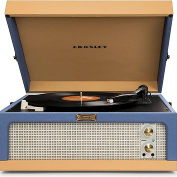 Blue and Tan Portable Turntable by Crosley