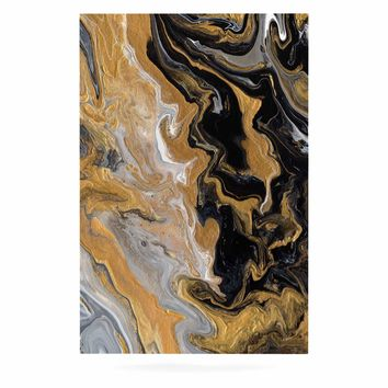 "Catherine Holcombe ""Gold Vein Marble"" Black Gold Abstract Geological Painting Luxe Rectangle Panel"