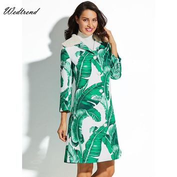 Wedtrend Turn-down Collar Buttons Leaves Print Mini Women Winter Dresses Elegant Loose New Arrival Ladys Dress Cheap Short Dress