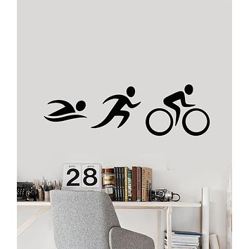 Vinyl Wall Decal Cycling Swimming Running Sport Cartoon People Stickers (3384ig)