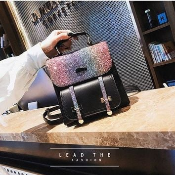 University College Backpack 2018 new Famous design casual Sequins double shoulder bags Zipper opening Office Ladies bag simple preppy  style AT_63_4
