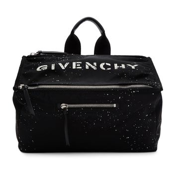 White Stencil Black Leather Messenger Bag by Givenchy
