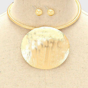 "9"" gold 2.50"" dome choker collar bib boho necklace earrings"