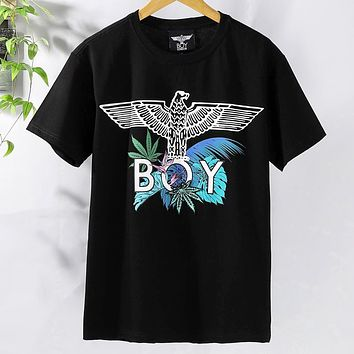 BOY LONDON 2019 new letter printing men and women models loose round neck half sleeve T-shirt Black