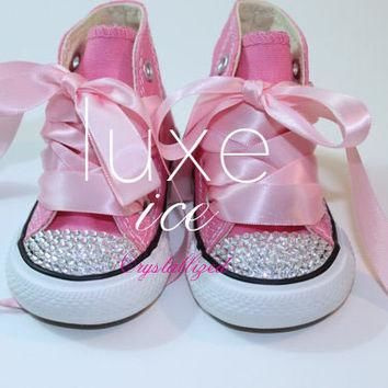 Converse Chucks high tops w Swarovski Crystals Pink & White Size 2-10 infant