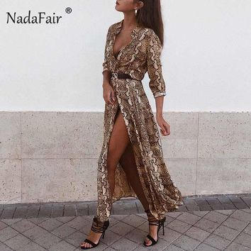 Nadafair fashion chiffon snake print sexy long dresses women v neck long sleeve single-breasted split vintage midi dress vestido