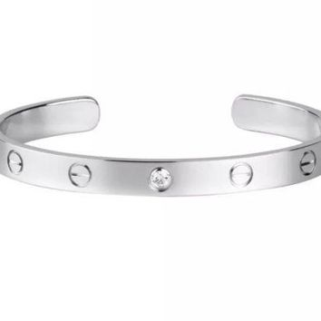 Cartier LOVE Open Bracelet Bangle with 1 Diamond - Size 17 - K18 White Gold