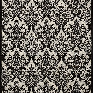 Damask Black/White Rug - 3 Size Options