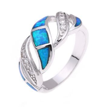 silver color opal promise Rings rhodium plated jewelry drop shipping blue natural stone hot Cubic Zircon opal Engagement Ring