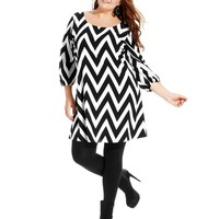 ING Plus Size Three-Quarter-Sleeve Chevron-Print Dress