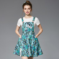 Women Plus Size Overall Dress Two Piece Set Summer Outfit Tropical Floral Prints Green Dresses l to 4xl 5xl