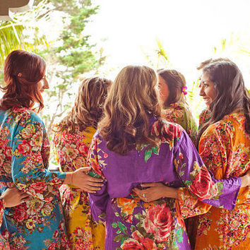 Bridesmaids Robes Set of 9 Kimono Crossover Robe Perfect bridesmaids gift, getting ready robes, Bridal shower favors, Wedding photo prop
