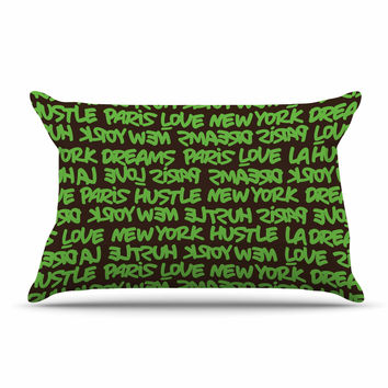 "Just L ""Lux Writing Grn Brn"" Green Typography Pillow Sham"
