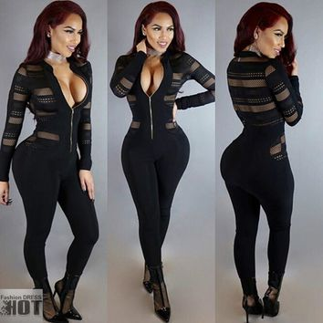 HODMEXI  Rompers Womens Jumpsuit Fashion Stand Up Collar Zipper Long Sleeve Bodysuit Sexy Gauze Splicing Club Overalls