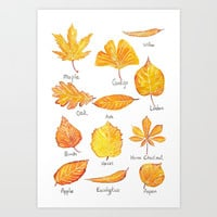 yellow leaves collection Art Print by Color and Color