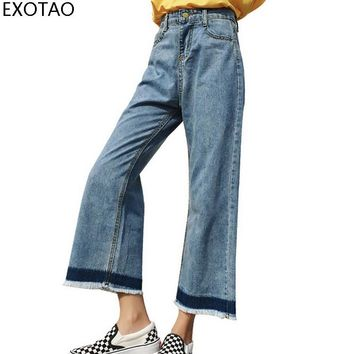 EXOTAO 2017 Wide Leg Jeans Woman Casual Low Hit Color Ankle Length Loose Jeans Feminino High Waist Tassel Denim Pantalon Mujer