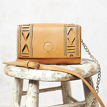 Free People Womens Laser-Cut Crossbody