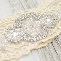 Ivory Cream Wedding Bridal Garter Set Vintage Lace Heirloom Rhinestone Pearl Custom