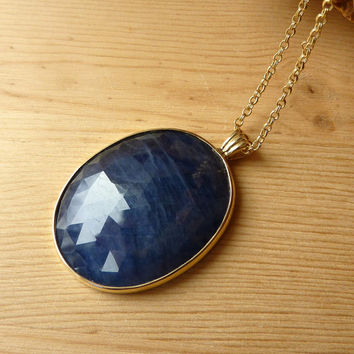 Oval Blue Sapphire Necklace