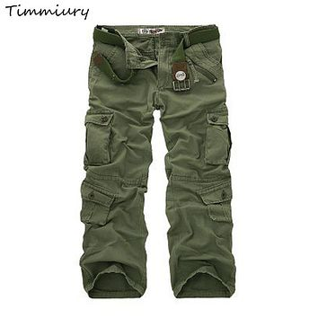 Timmiury 2017 New Cargo Pants Military Tactical Pants Mid Waist Straight Pockets Long Pants Army Green Plus Size Trousers Cotton