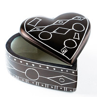 African Line Art Soapstone Heart Boxes