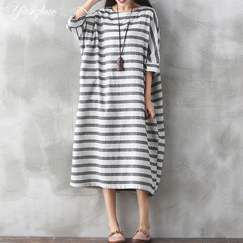 Women Long Line Causual Dress Vintage Chinese style Striped  Linen Loose Casual Summer Brand Design Dresses 3757