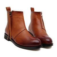 Brown Boots With Zip and PU Leather Design