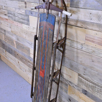Large Vintage Wood Sled, Wood And Metal Sled, Antique Childrens Toboggan, Rustic Holiday Decor