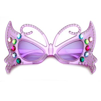 Butterfly Shape Rhinestone Jeweled Party Novelty Costume Glasses