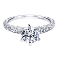 14K White Gold 1.10cttw Vintage Style Round Diamond Engagement Ring with Engraved Shank