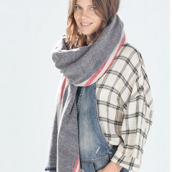 Gray Striped Print Long Scarf