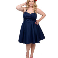 Plus Size Navy Fit N Flare Short Halter Dress