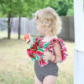 B&W Striped Watermelon Romper