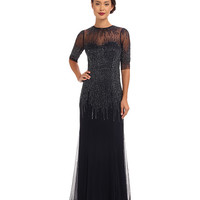 Adrianna Papell 3/4 Sleeve Illusion Neck Beaded Gown