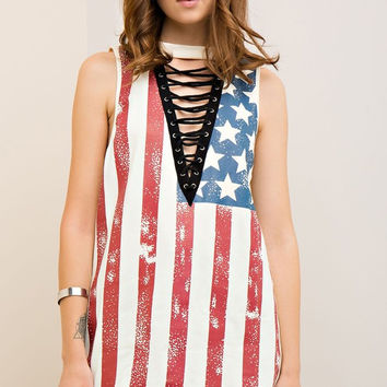 America Lace Up Top - Ivory