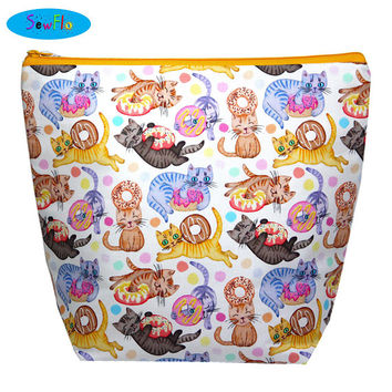 NEW! Cat Sweater Bag-Donut Knitting Bag-Doughnuts Knitting Project Bag-Large Wedge Bag
