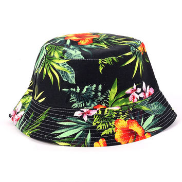Summer UV Women Floral Sun Hat hot outdoor fishing sun hat Bob letter fisherman panama cap chapeau cotton bucket hat boonie hat