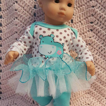 "Baby Doll Clothes ""Happy Hippo"" 15 inch doll outfit Will fit Bitty Baby® Bitty Twins®  dress, leggings, socks, headband F4"