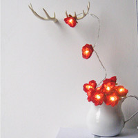 Wild Roses Fairy Lights Deep Red