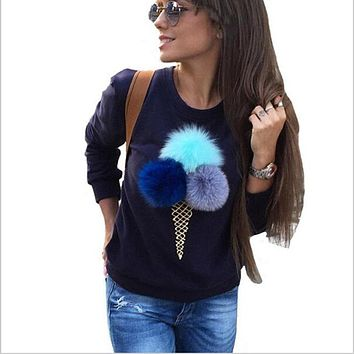 Female autumn women's cute sweet swetshirts long sleeve warm hoody 3D plush ball ice cream printing hoody capless women hoodies