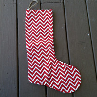 Chevron red Single Christmas stocking- stocking- Stocking stuffer ideas-christmas decorations-Black Friday sale-Christmas decor