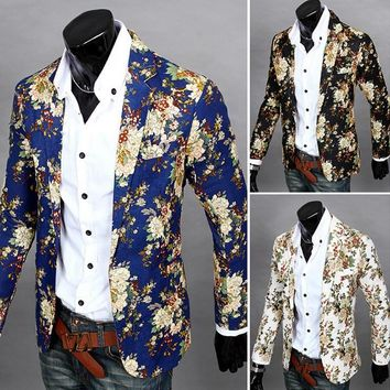 2017 Fashion Men Floral Printing Blazer Slim Party Single Breasted Suit Jacket Long Sleeve Coat FS99