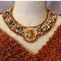 ON SALE Bead Embroidered Collar - Jasper Cabachon
