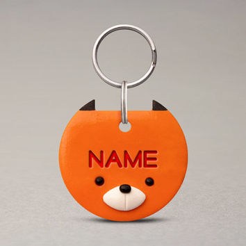 Fox Pet ID Tag - For Cats Dogs, Custom Name Tag, Cute Collar Accessories