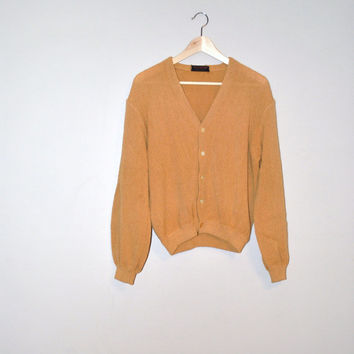 1950s mustard yellow alpaca wool cardigan sweater